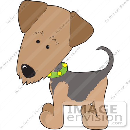 450x450 Clip Art Graphic Of A Curious Waterside Terrier Puppy Dog Wearing