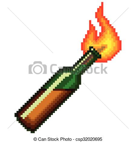 450x470 Pixel Molotov Cocktail Isolated. Pixel Molotov Cocktail High