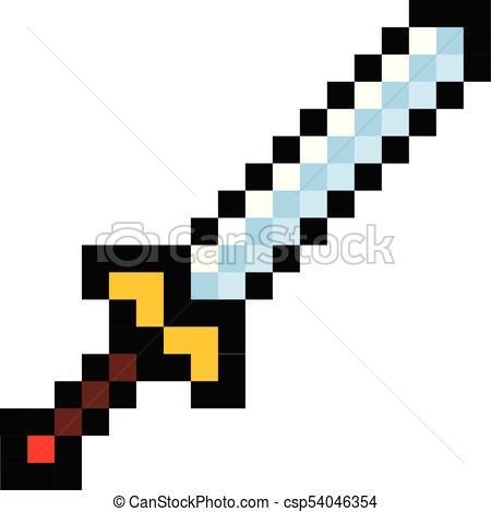 450x469 Pixel Video Game Sword Icon Cartoon Retro Game Style Set Clipart