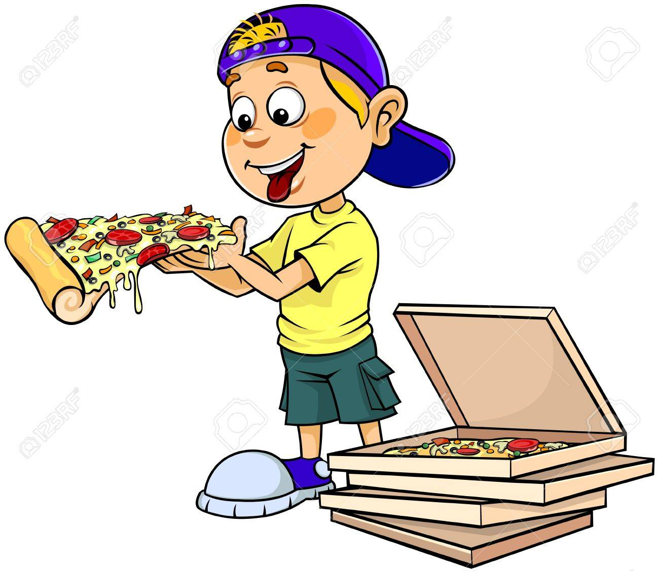 1300x1128 Boy Eating Pizza Clipart Pencil And In Color