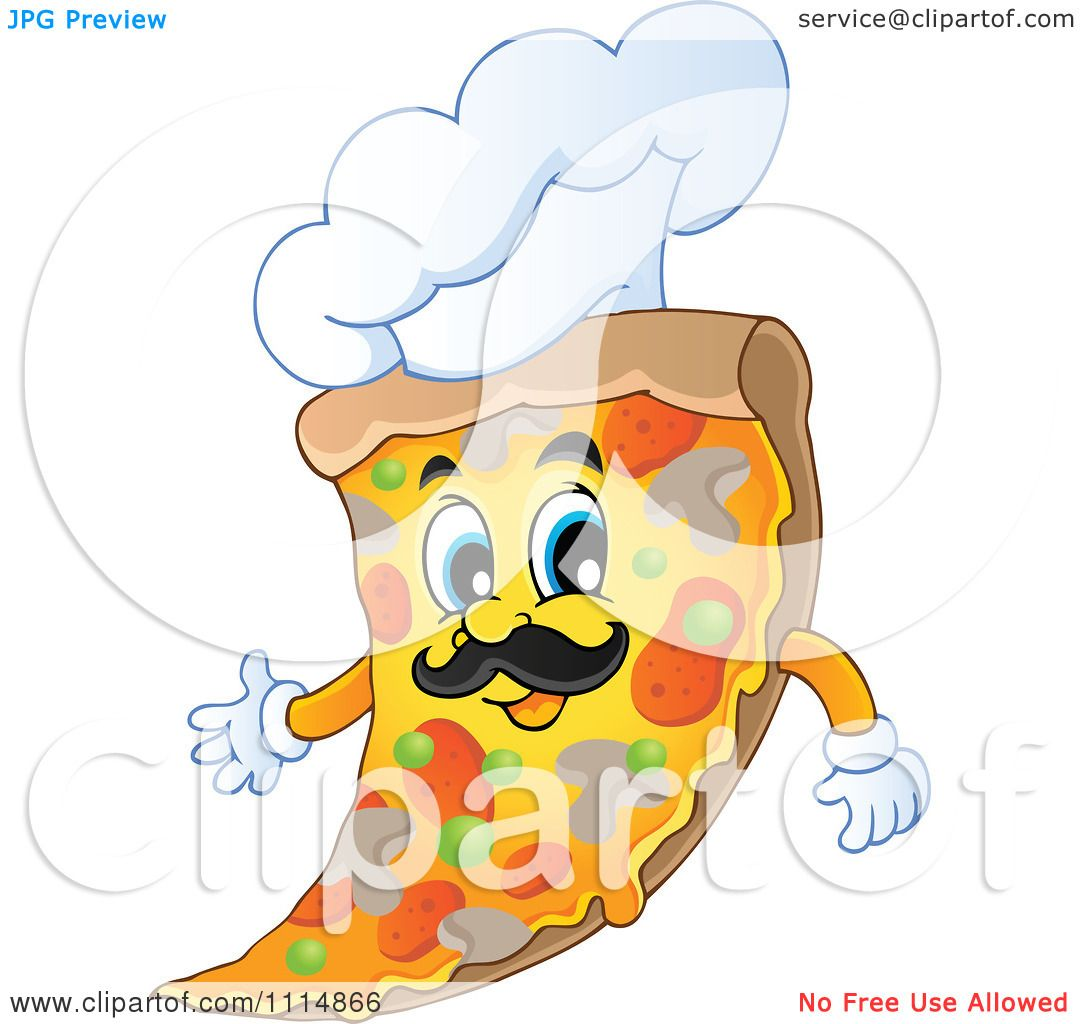 1080x1024 Clipart Italian Chef Pizza Slice With A Hat