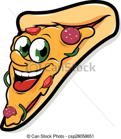 409x470 Happy Pizza Slice Character. Vector Illustration Of A Happy
