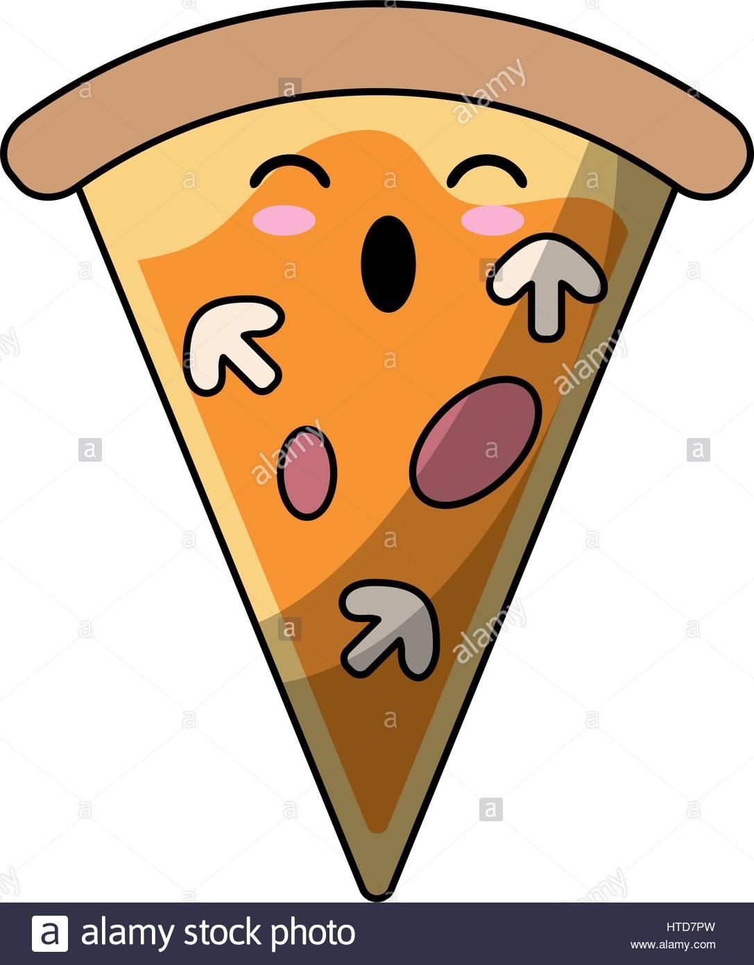 1087x1390 Kawaii Tasty Pizza Slice Icon Stock Vector Art Amp Illustration