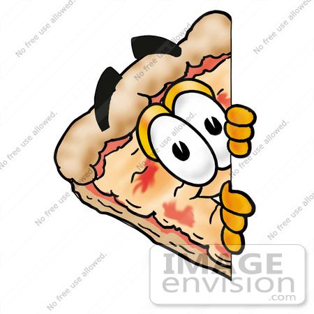 450x450 Clip Art Graphic Of A Cheese Pizza Slice Cartoon Character Peeking