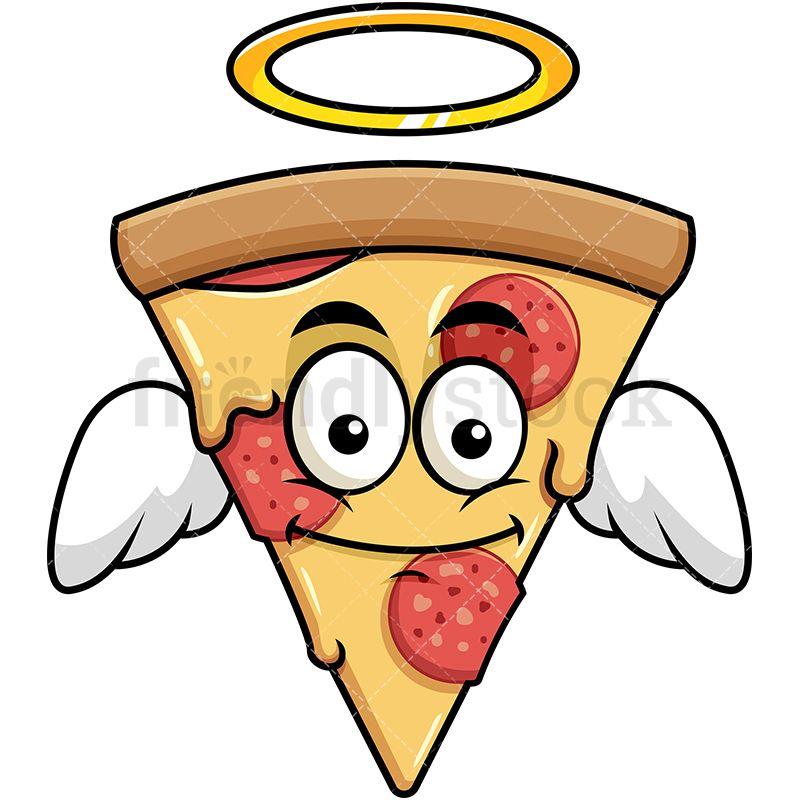 800x800 Winged Angel Pizza Emoji Cartoon Vector Clipart Pizza Emoji