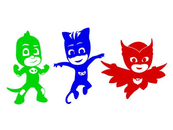 570x428 PJ Masks Vinyl Sticker Set In Color. Cat Boy Owlette And