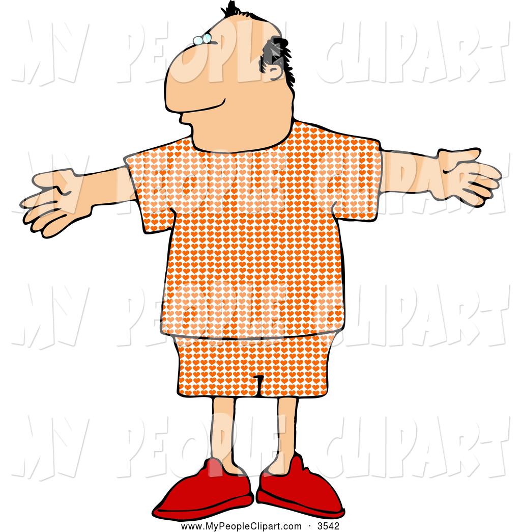 1024x1044 Clip Art Of A Average Man In Plaid Pajamas By Djart