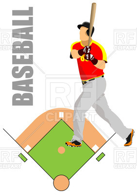 282x400 Baseball Field Plan And Player Royalty Free Vector Clip Art Image