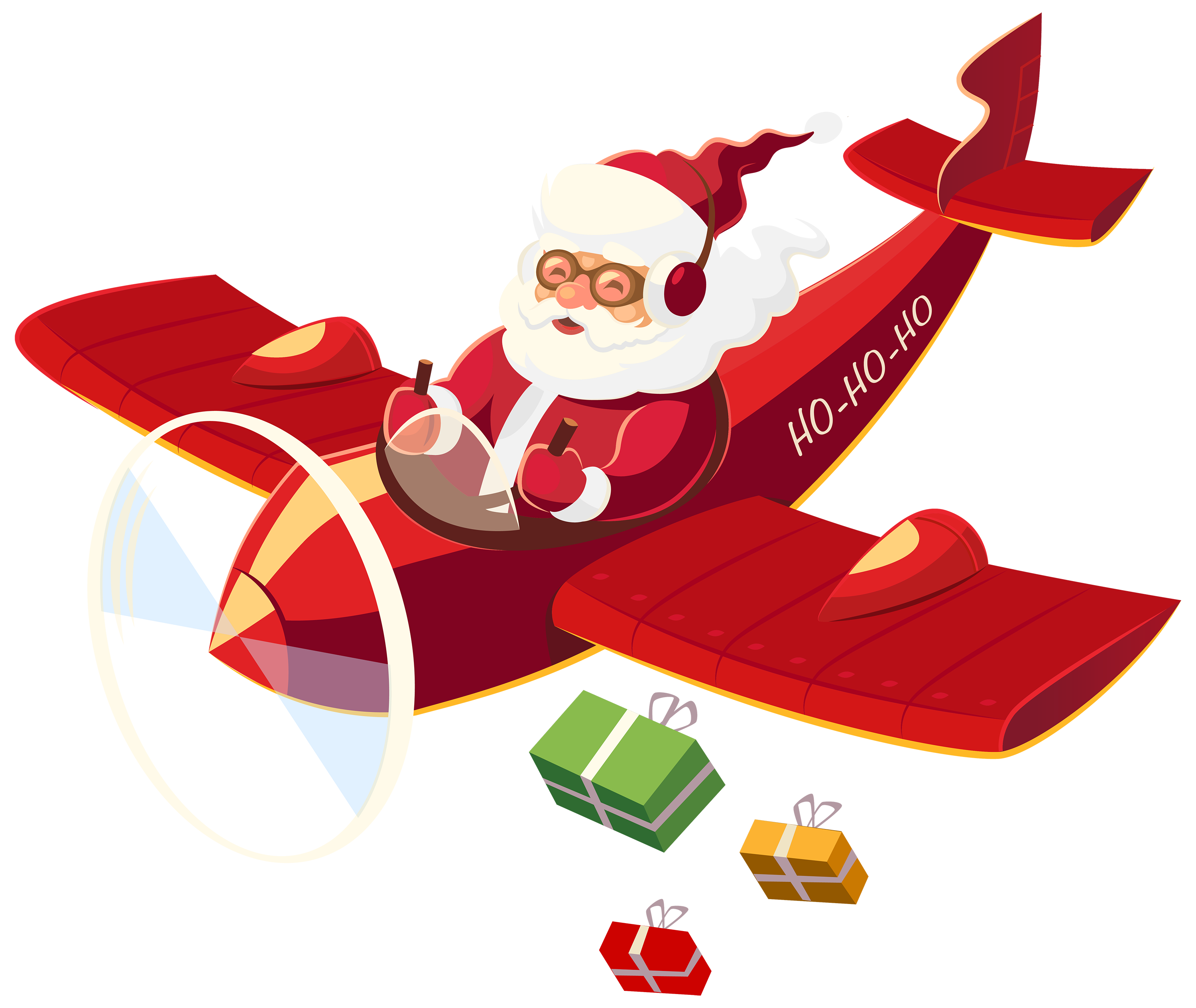 3000x2529 Santa Claus With Plane Png Clipart Xmas Noel