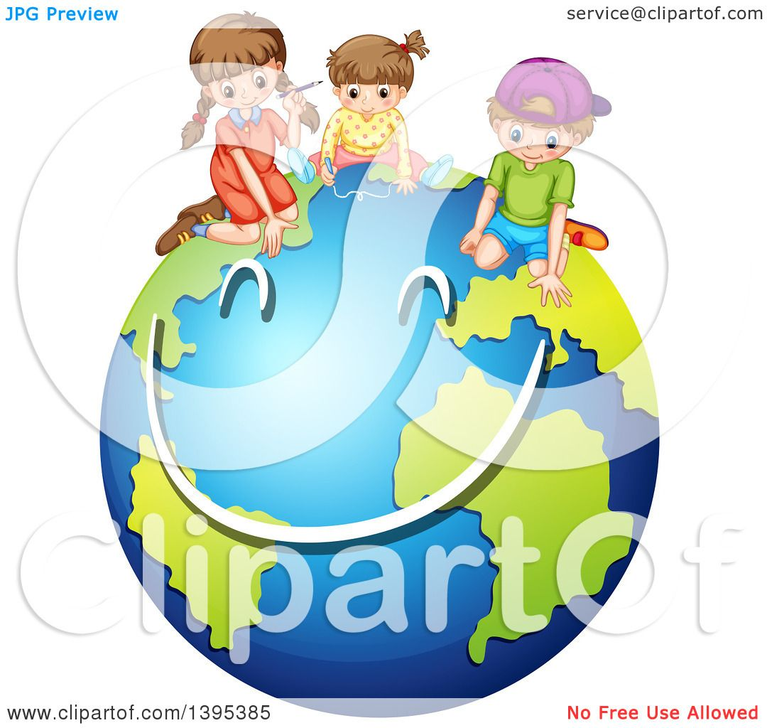 1080x1024 Clipart Of Children Drawing A Smiley Face On Planet Earth