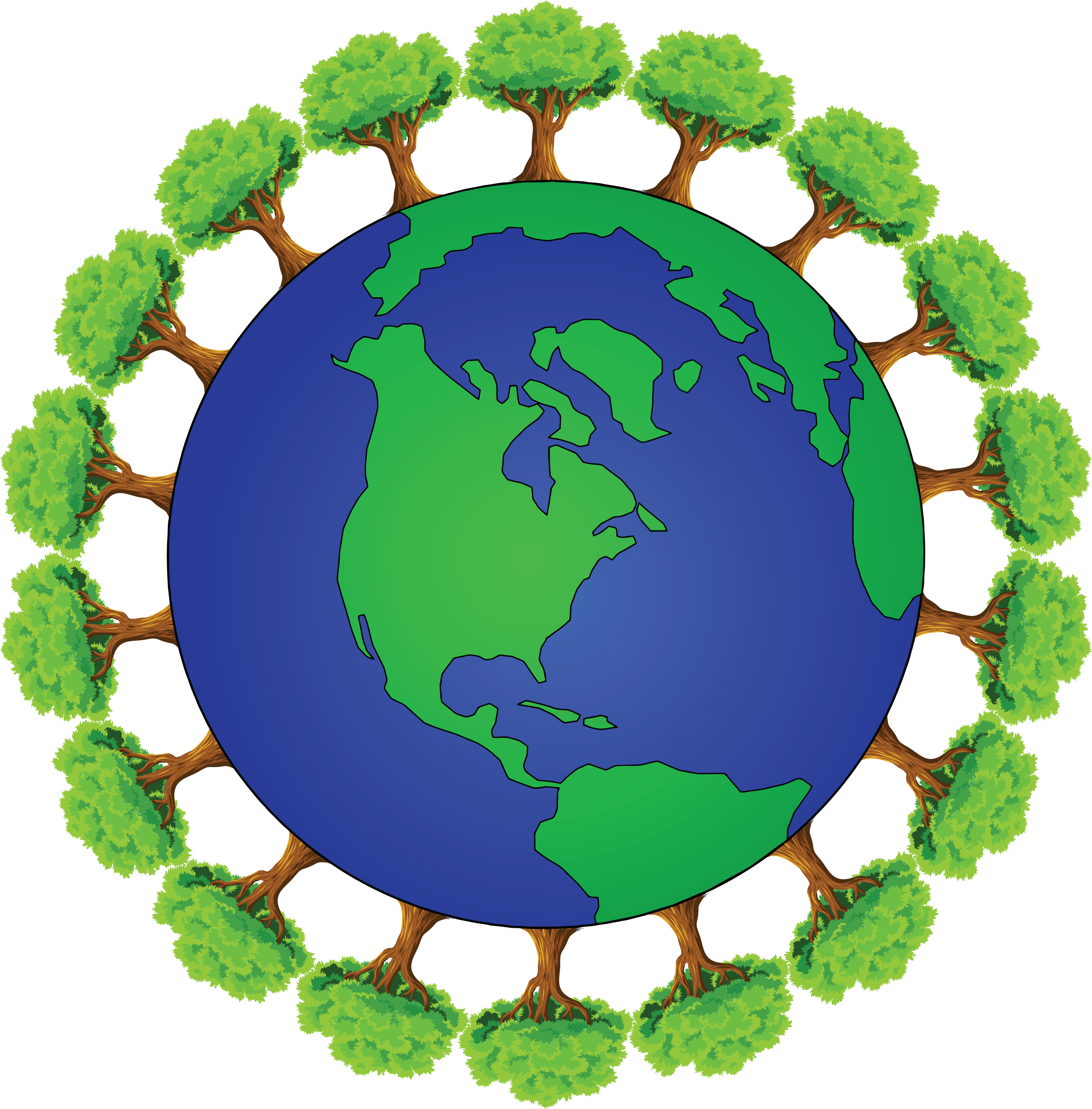 4000x4061 Free Clipart Of Planet Earth Encircled With Trees