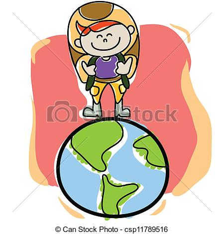 450x470 Hand Drawn Cartoon Traveller On The Planet Earth Vector Clip Art