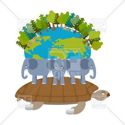 400x400 Mythological Planet Earth. Turtle Carrying Elephants Royalty Free