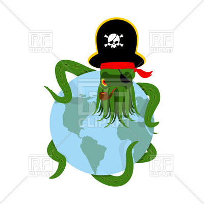 400x400 Octopus Pirate And Planet Earth Royalty Free Vector Clip Art Image