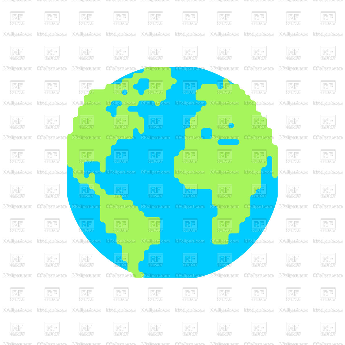 1200x1200 Planet Earth Cartoon Style Royalty Free Vector Clip Art Image