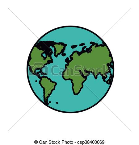 450x470 Planet Earth Isolated Icon Design, Vector Illustration Clip Art