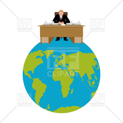 400x400 President Of World. Big Boss On Planet Earth. Royalty Free Vector