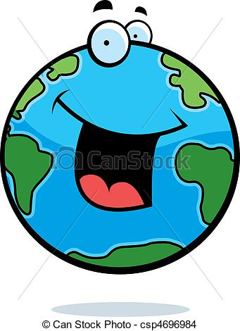 341x470 A Cartoon Planet Earth Smiling And Happy. Eps Vector