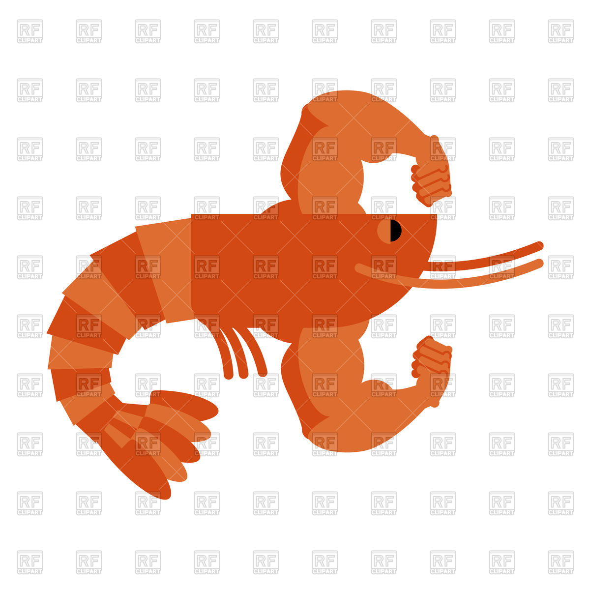 1200x1200 Strong Athlete Shrimp. Powerful Athlete Plankton. Royalty Free