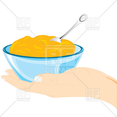 400x400 Hand With Plate Of Meal Royalty Free Vector Clip Art Image