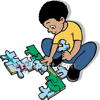 348x350 African American Boy Putting Together A Jigsaw Puzzle