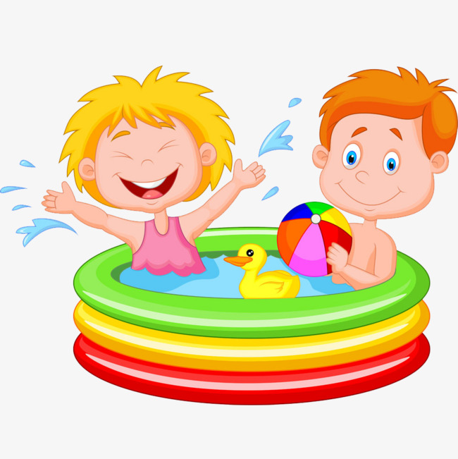 650x651 Cute Cartoon Children Play Water Map, Play Water, Inflatable Pool