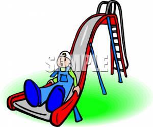 300x248 Clip Art Image A Boy Sliding Down A Red Playground Slide