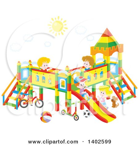 450x470 Clipart Of A Group Of Happy White Children Playing On A Playground