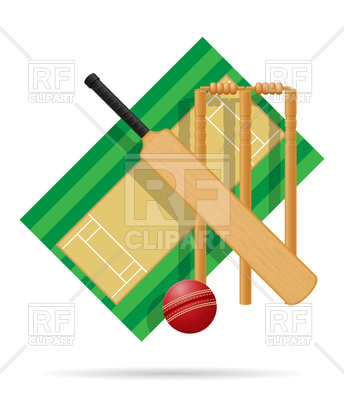 344x400 Playground For Cricket On White Background Royalty Free Vector
