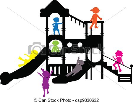 450x348 Children Silhouettes Playground For Banners, Background And Others.