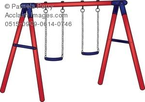 300x211 Clip Art Illustration Of A Playground Swing Set