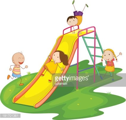 424x404 Kids On A Slide Premium Clipart