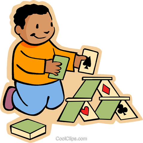 478x480 Boy Making House Of Cards Royalty Free Vector Clip Art