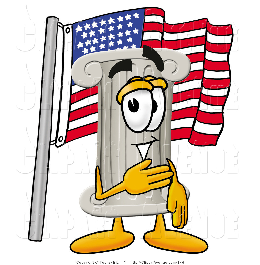 1024x1044 Avenue Clipart Of A Patriotic Pillar Mascot Cartoon Character
