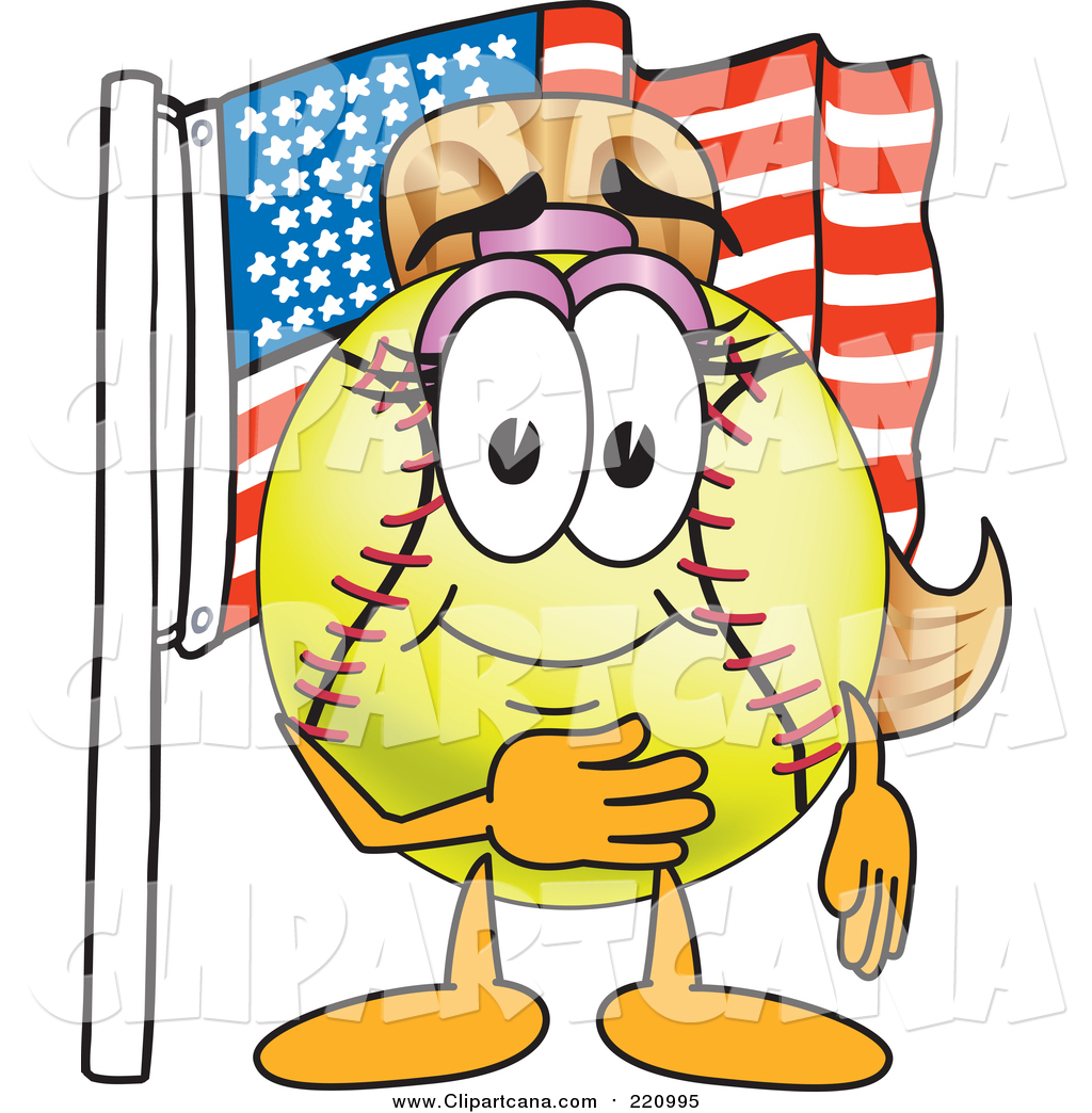 1024x1044 Clip Art Of A Girly Softball Character By An American Flag By