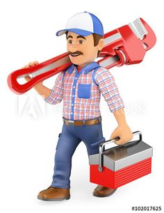236x306 3d Plumber With A Pipe Wrench Clip Art