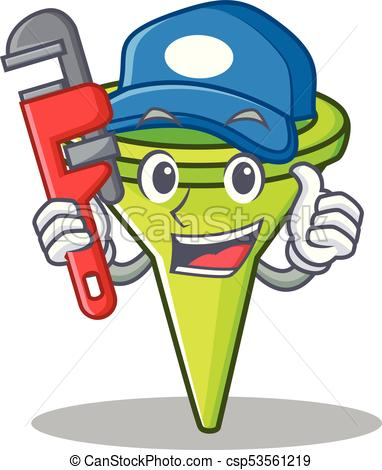382x470 Plumber Funnel Character Cartoon Style Vector Illustration Vector