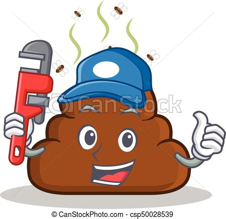 450x436 Plumber Poop Emoticon Character Cartoon Vector Illustration