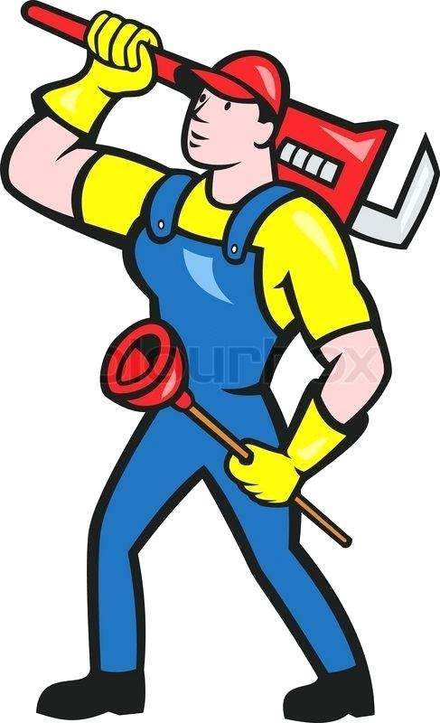 487x800 Plunger Clip Art Illustration Of A Plumber Holding Carrying Monkey