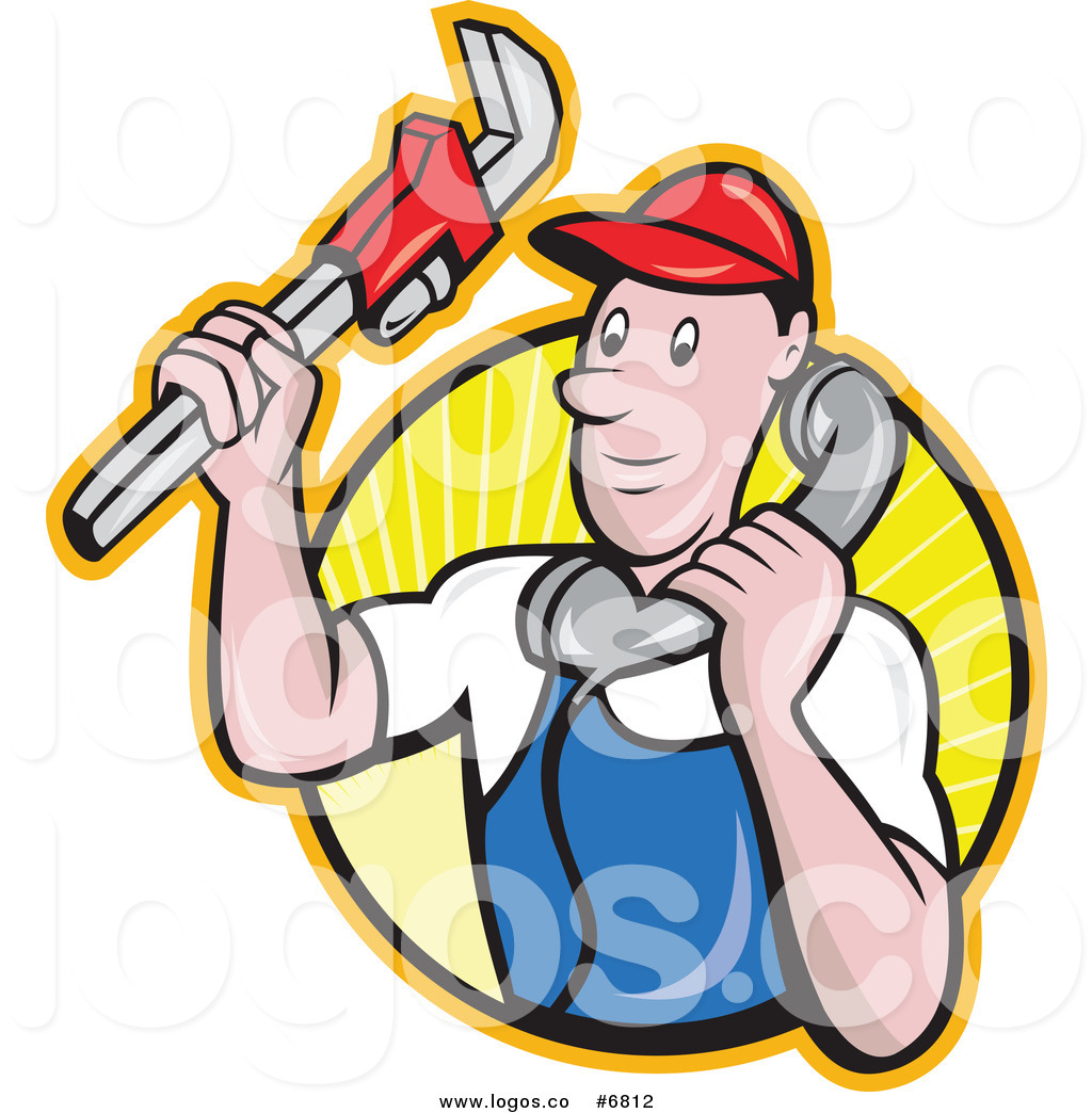 1024x1044 Royalty Free Clip Art Vector Logo Of A Plumber Holding A Monkey