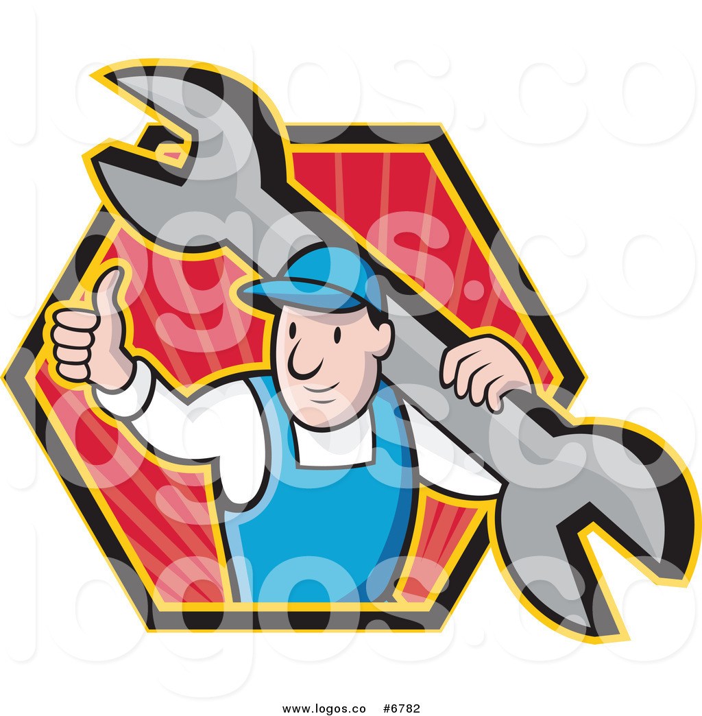 1024x1044 Royalty Free Clip Art Vector Logo Of A Plumber Holding A Thumb Up