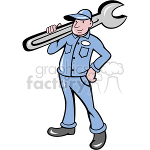 300x300 Royalty Free Plumber Carrying Big Wrench 388441 Vector Clip Art