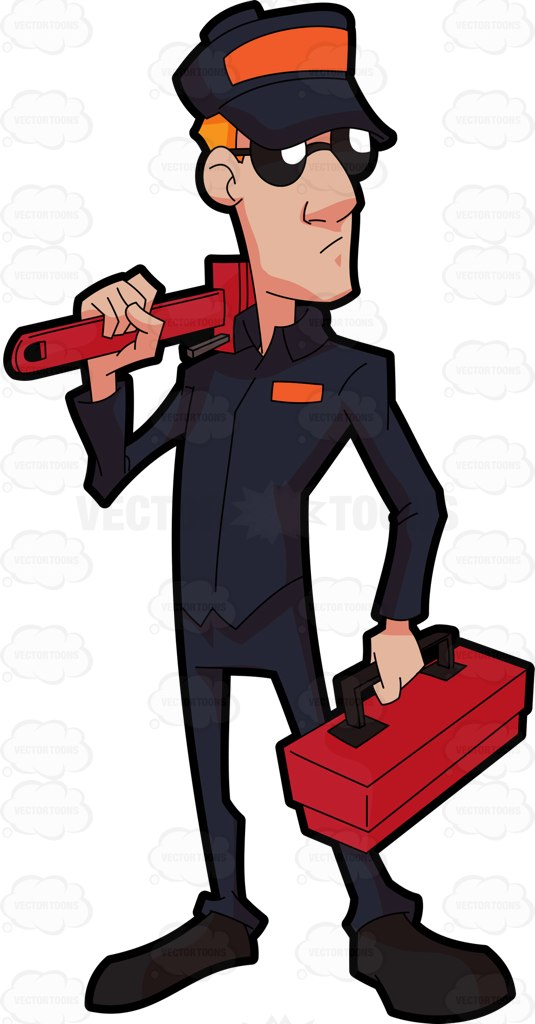 535x1024 A Plumber Going To Work Cartoon Clipart Vector Toons