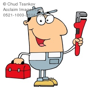 300x293 A Plumber With A Monkey Wrench And A Toolbox Clipart Image