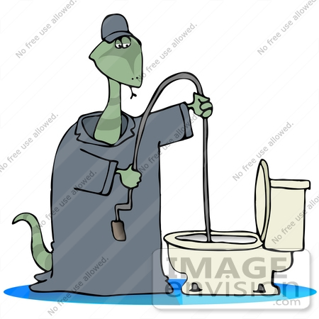 450x450 Clip Art Graphic Of A Snake Plumber In Coveralls, Using A Toilet