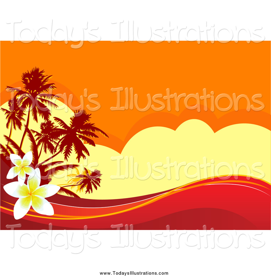 1024x1044 Clipart Of A Tropical Sunset Background With Waves And Plumeria