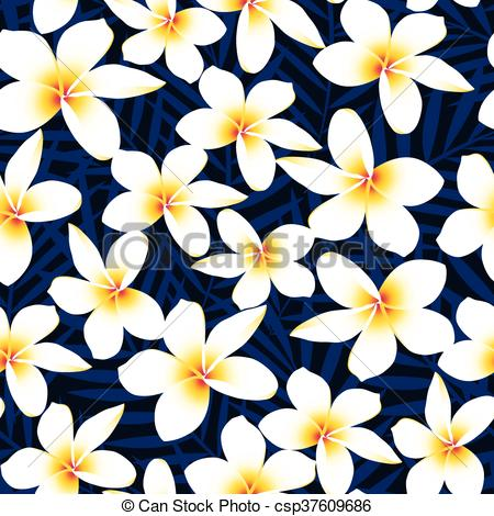 450x470 Tropical White Frangipani Plumeria Flower Seamless Pattern