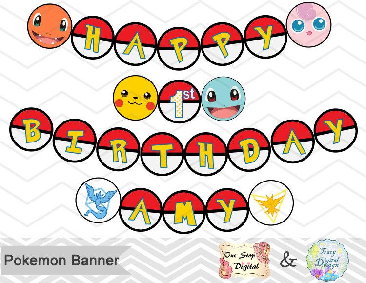 750x580 Instant Download Pokemon Bunting Printable Pokemon Banner