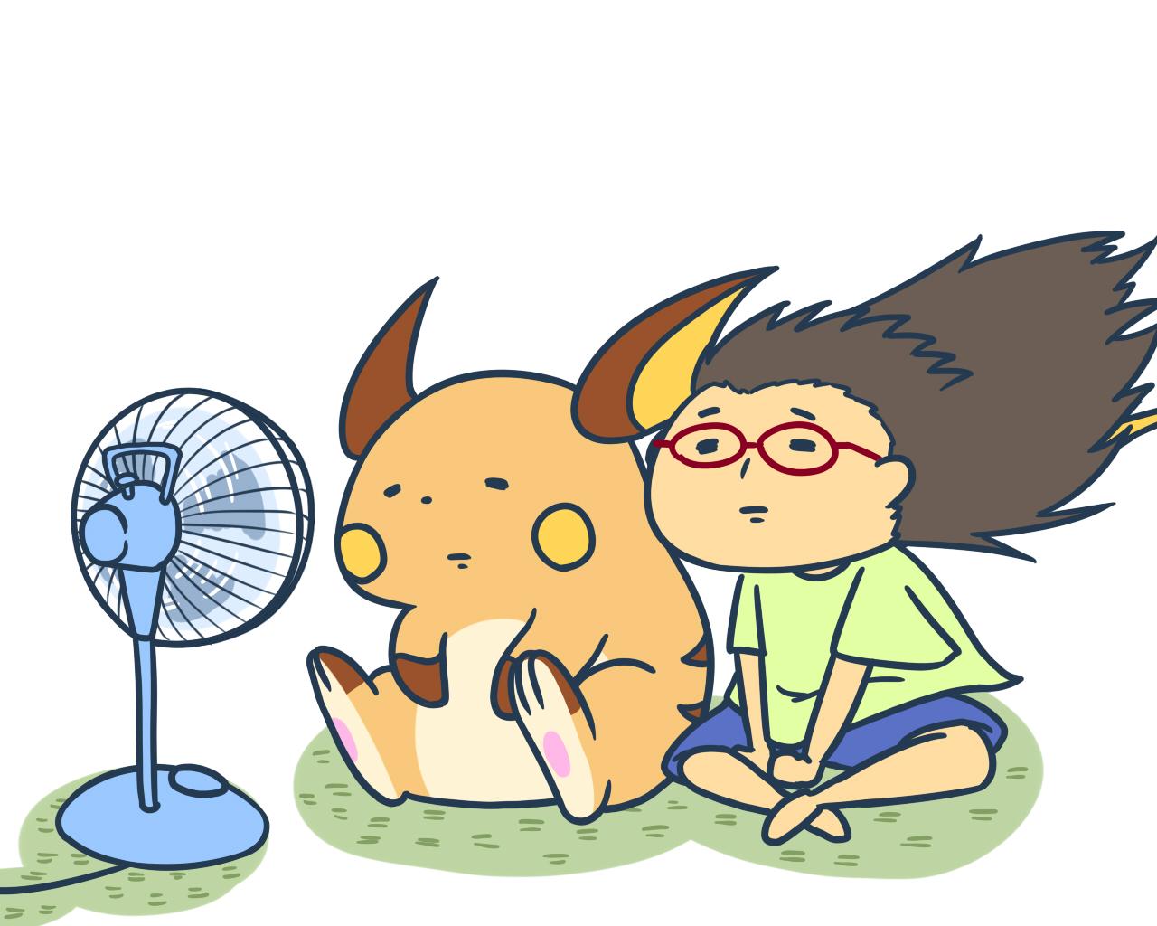 1280x1024 Raichu And Some Random Girl Get Cool Down By An Fan.