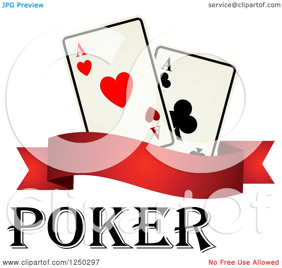 1080x1024 Clipart Of Poker Text With A Banner And Playing Cards